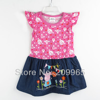 TuTu Summer A-Line Retail Peppa Pig Casual Jeans Child Dress Baby Girl Clothes 2014 Summer New Arrival Toddler Clothing Kid Wear Children Outerwear