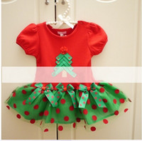 Wholesale new years children costumes baby girls Christmas tree Bow Polka dot tutu cake dress kids red short sleeve party dress