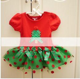 Wholesale new years children costumes baby girls Christmas tree Bow Polka dot tutu cake dress kids red short sleeve party dress