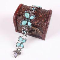 Wholesale Fascinating Woman Lady Charm Bracelets Butterfly Turquoise Rhinestone Bracelets Charms Jewelry SZ6036