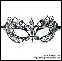 Wholesale Luxury Black Metal Laser Cut With Rhinestone Princess Masquerade Mask MA001 BK
