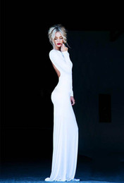 Gorgerous Sexy Backless Evening Dresses Crew Long Sleeve Sheath Maxi Floor Length White Party prom Dress Formal Gowns 2015