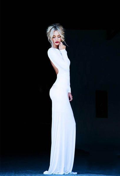 Великолепная Сексуальная спинки вечерние платья экипаж с длинным рукавом оболочки Макси длина пола Белый Пром платье вечерние платья 2015
