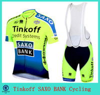 Short Anti Bacterial Men TINKOFF SAXO BANK CYCLING JERSEY short sleeves bib cycling jersey 2014 tour de france cycling jersey set BLUE & green color size XS-4XL