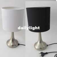 Wholesale Promotion High Quality Fabirc Metal Plating Water Droplets Base Steps Dimming Touch Table Lamps Table Lights