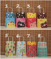 Paper Hand Length Handle Yes 40 New Cartoon Kraft Paper Bag   Festival Gift Bag With Handle   Shopping Packing