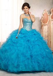 Wholesale 2014 Lovely Ball Gown Sweetheart Floor Length Lace up Beads Sequins Organza Quinceanera Dresses with a Jacket