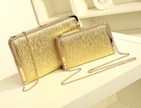 Wholesale Fashion Gold Silver Sequins Shiny Metal Evening Bags Shoulder Chain Clutch Bags Mini Box Bags Women Messenger Leather Handbags Size