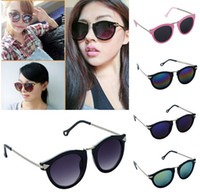2 Pcs Lot Fashion Women Sunglasses Round Glass Retro Plastic...