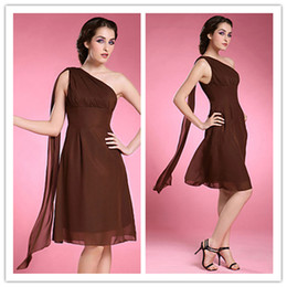 2019 A-line One Shoulder Sleeveless Knee-length brown Chiffon Mother of the Bride Dresses backless new design collection dresses