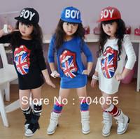 Wholesale girls fashion union jack flag black white blue long sleeve fall dress kids girl casual stylish beading bling shining dre