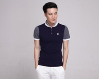 Wholesale Fashion Mens Compression Stand Collar Short Sleeve Casual Stripe Tee Tops Man Polo T Shirts Henley Shirt Muscle Tee White Size M L XL