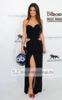 Wholesale Selena Gomez Black Sexy Halter Backless Party Dresses High Slit Party Gowns Prom Celebrity New Evening Dresses DK07001