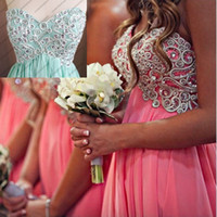 Reference Images Sweetheart Chiffon 2014 Real Image Short Coral Bridesmaid Dresses Sweetheart Lines Beads Empire Maternity Party Gown Mini Corset Short Prom Dress Cocktail Gown