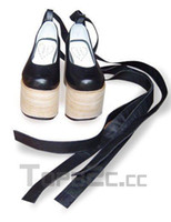 Wholesale 3 Heel Platform Black PU Rocking Horse shoes Lolita Shoes
