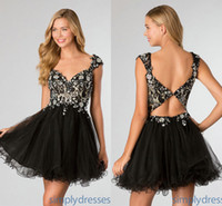 Newest Short Black Lace Tulle Homecoming Dresses Sweetheart ...