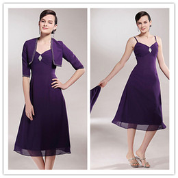 2019 A-line V-neck Tea-length purple 3 4 long sleeves beading Chiffon Mother of the Bride Dresses With A Wrap