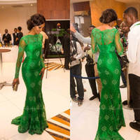 Reference Images Jewel/Bateau Tulle 2014 Newest Amazing Green Mermaid Evening Dresses with Long Sleeves Bateau Sweep Train Appliqued Lace Celebrity Dresses Prom Dresses EM02549