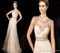 gorgeous crystal prom dresses long 2014 sheer lace crew neck...