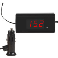 Wholesale 2 In V Mini Red Car LED Digital Display External Temperature Sensor Thermometer Electric Voltmeter for Car CEC_643