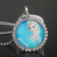 Wholesale Fashion Frozen Ball Chain Necklace Frozen Princess Elsa Pendant Flatback Rhinestone Cabochon Charm Necklace Summer Clothing Dress Accessory
