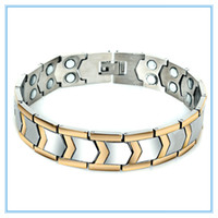 Wholesale Healthy Men Jewelry Magnetic Bracelets Bangles Power Ion Balance Sport Power Therapy Magnets Titanium Steel Balance Bracelet