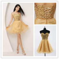 Wholesale 2014 Gold Sweetheart A Line Corset Back Short Homecoming Dresses with Shinny Sequins Actual Image Tulle Mini Party Dress Prom Gowns