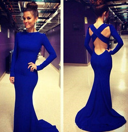 2015 Royal Blue Mermaid Evening Dresses High Neck Long Sleeves Cross Backless Spandex Formal Dresses Long Women Maxi Prom Party Gowns