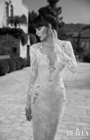 Trumpet/Mermaid Reference Images V-Neck 2015 New Arrival Berta Mermaid Wedding Dresses,Glamorous White Lace Covered Long Sleeve and Shining Sequins Gorgeous Bridal Dress