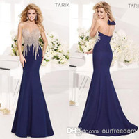 New Tarik Ediz Evening Dresses With Scoop neck Appliques Bea...