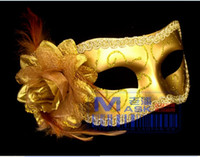 Wholesale Women Sexy Hallowmas Venetian Mask Masquerade Masks with Flower Feather Mask Dance Party Mask Half Mask Painted Flower party Mask A