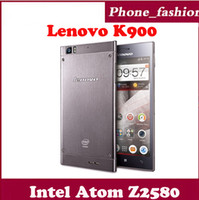 WCDMA Dual Core Android Wholesale - Lenovo K900 Cellphone 2GB RAM 16GB ROM Intel Atom Z2580 Dual Core 2.0GHZ Android 4.2 Smartphone Promotions with 5.5'' FHD Screen
