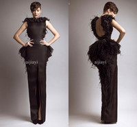 Reference Images Jewel/Bateau Satin 2014 New Glamorous Brown Bateau Keyhole Backless back Slit Peplum Feather Evening Dresses formal evening gowns floor length long prom dress