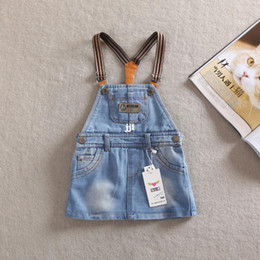 Wholesale 2014 Summer New Fashion Items For Baby Girls Causal Denim Plain Clothes Kids Dress Brand Name TXW TXW8506