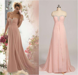 Wholesale only hot sale fall elegant pink crystal beaded sweetheart bridesmaid dress long chiffon in stock prom dresses under TK213
