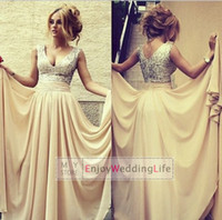 V-Neck designer - 2014 Designer V Neck A Line Chiffon Formal Prom Dresses Champagne Sequins Beach Pageant Dress Cheap Bridesmaid Gowns CPS046
