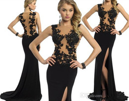 2015 Black Nude Evening Dresses Mermaid Long Sexy Sheer Backless High Side Slit pageant Gown Beaded Applique Maxi Sweep Train Party Gowns