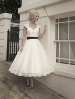 Wholesale 2014 Fascinating Wedding Dresses Sweetheart Cap Sleeves Open Back Black Bows A Line Tea Length Bridal Gowns