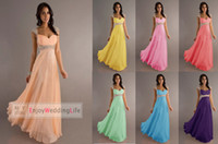 Reference Images Sweetheart Chiffon 2014 New Cheap In Stock Empire Chiffon Long Prom Dresses Cap Sleeves Beaded Ruffles Evening Dresses Bridesmaid Gowns CPS049