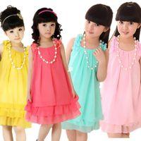 Wholesale 2014 new girls chiffon lace flower dress fashion Korean princess kids teenage factory outlet children summer clothing