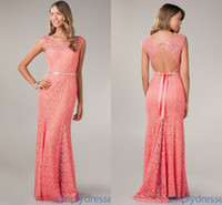 Wholesale ZJ Exquisite Generous Pink Prom Dresses Long Crew Lace Sleeveless Sequins Beads Bow Sheath Hollow Floor Length Tony Bowls Hot Evening Gowns