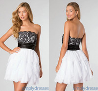 2014 Chic Black and White Short Lace Homecoming Dresses Chea...