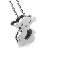 Chains Fashion Pendants Bears Jewelry Engraved Heart Animal Charm Stainless Steel Silver Small Bear Pendant Necklace for Babies and Children Wholesale