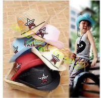 Wholesale FREE SHIP fashion boy girl children star summer hats UV sun cap west cowboy kid beach visor hat large brimmed straw hat