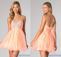 Chic Peach Tulle Short Homecoming Graduation Dresses 2014 Su...