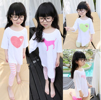 Wholesale Children Nightgown Lovely Heart Dog Cartoon Pattern Pajamas Girl Comfortable Cotton Kids Sleepwear Childs Nightwear cm J0763