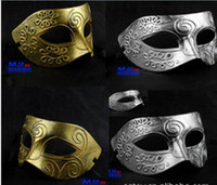 Wholesale 2014 HOT Male Party Masks Ancient Greece and Rome fighters Masquerade Mask Male Party Mask PVC Retro Mask Golden Silver Colors