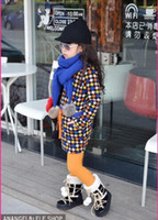 Wholesale children clothes Fall new color Houndstooth fleece waist dress long section dandys