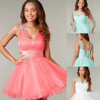 Cheap Two Piece Short Coral Corset and Tulle Homecoming Dres...