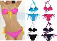 Cheap SWIM 2014 Hot SEXY GIRL Women Bikini Set PUSH-UP HALTER Padded Bra Swimwear Swimsuit